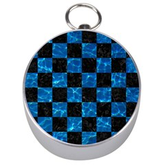 Square1 Black Marble & Deep Blue Water Silver Compasses by trendistuff