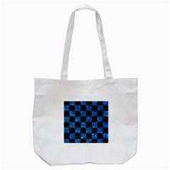 Square1 Black Marble & Deep Blue Water Tote Bag (white) by trendistuff