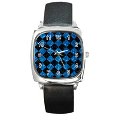 Square2 Black Marble & Deep Blue Water Square Metal Watch by trendistuff