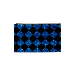 Square2 Black Marble & Deep Blue Water Cosmetic Bag (small)  by trendistuff