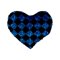 Square2 Black Marble & Deep Blue Water Standard 16  Premium Heart Shape Cushions by trendistuff