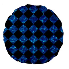 Square2 Black Marble & Deep Blue Water Large 18  Premium Flano Round Cushions by trendistuff