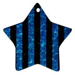 Stripes1 Black Marble & Deep Blue Water Star Ornament (two Sides) by trendistuff