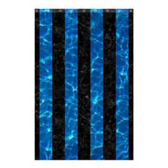 Stripes1 Black Marble & Deep Blue Water Shower Curtain 48  X 72  (small)  by trendistuff