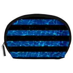 Stripes2 Black Marble & Deep Blue Water Accessory Pouches (large)  by trendistuff