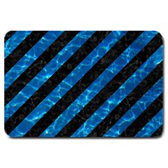 Stripes3 Black Marble & Deep Blue Water Large Doormat  by trendistuff