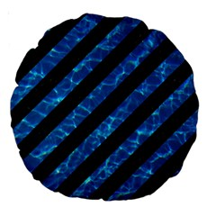 Stripes3 Black Marble & Deep Blue Water Large 18  Premium Round Cushions by trendistuff