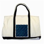 TRIANGLE1 BLACK MARBLE & DEEP BLUE WATER Two Tone Tote Bag Front