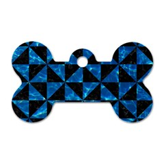 Triangle1 Black Marble & Deep Blue Water Dog Tag Bone (two Sides) by trendistuff