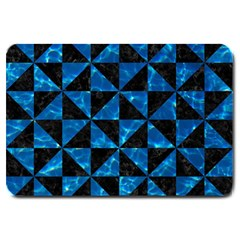 Triangle1 Black Marble & Deep Blue Water Large Doormat  by trendistuff