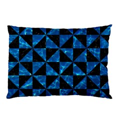 Triangle1 Black Marble & Deep Blue Water Pillow Case by trendistuff