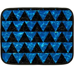 Triangle2 Black Marble & Deep Blue Water Fleece Blanket (mini) by trendistuff