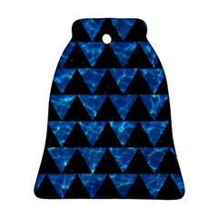 Triangle2 Black Marble & Deep Blue Water Bell Ornament (two Sides) by trendistuff