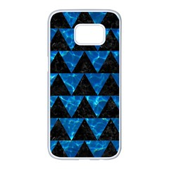 Triangle2 Black Marble & Deep Blue Water Samsung Galaxy S7 Edge White Seamless Case by trendistuff