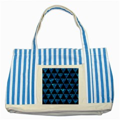 Triangle3 Black Marble & Deep Blue Water Striped Blue Tote Bag by trendistuff