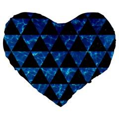 Triangle3 Black Marble & Deep Blue Water Large 19  Premium Flano Heart Shape Cushions by trendistuff