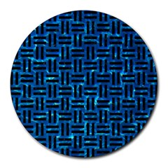 Woven1 Black Marble & Deep Blue Water (r) Round Mousepads by trendistuff