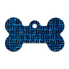 Woven1 Black Marble & Deep Blue Water (r) Dog Tag Bone (two Sides) by trendistuff