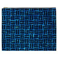 Woven1 Black Marble & Deep Blue Water (r) Cosmetic Bag (xxxl)  by trendistuff