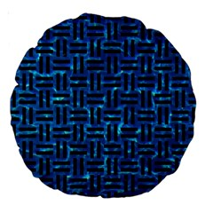 Woven1 Black Marble & Deep Blue Water (r) Large 18  Premium Round Cushions by trendistuff