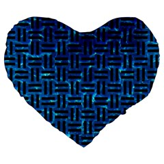 Woven1 Black Marble & Deep Blue Water (r) Large 19  Premium Heart Shape Cushions by trendistuff