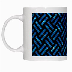 Woven2 Black Marble & Deep Blue Water White Mugs by trendistuff
