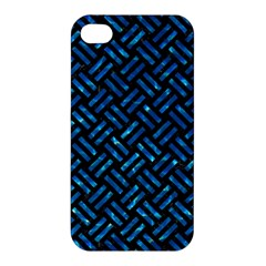 Woven2 Black Marble & Deep Blue Water Apple Iphone 4/4s Premium Hardshell Case by trendistuff