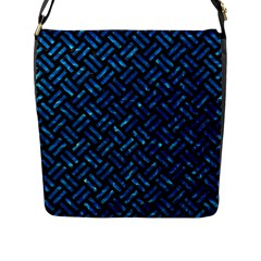Woven2 Black Marble & Deep Blue Water Flap Messenger Bag (l)  by trendistuff