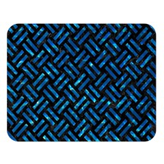 Woven2 Black Marble & Deep Blue Water Double Sided Flano Blanket (large)  by trendistuff