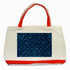 Woven2 Black Marble & Deep Blue Water (r) Classic Tote Bag (red) by trendistuff
