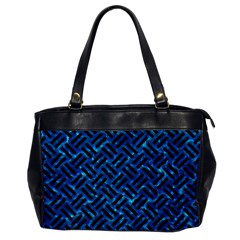 Woven2 Black Marble & Deep Blue Water (r) Office Handbags by trendistuff