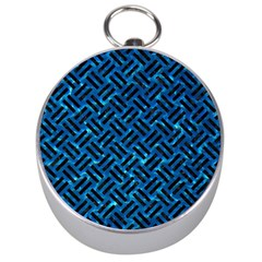 Woven2 Black Marble & Deep Blue Water (r) Silver Compasses by trendistuff