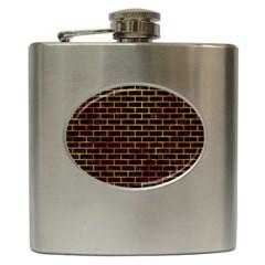 Brick1 Black Marble & Fire Hip Flask (6 Oz) by trendistuff