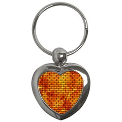 Brick1 Black Marble & Fire (r) Key Chains (heart)  by trendistuff