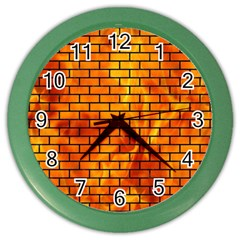 Brick1 Black Marble & Fire (r) Color Wall Clocks by trendistuff
