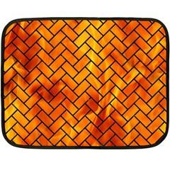 Brick2 Black Marble & Fire (r) Double Sided Fleece Blanket (mini)  by trendistuff