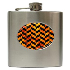 Chevron1 Black Marble & Fire Hip Flask (6 Oz) by trendistuff