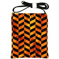 Chevron1 Black Marble & Fire Shoulder Sling Bags by trendistuff