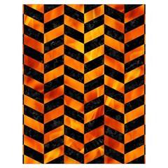 Chevron1 Black Marble & Fire Drawstring Bag (large) by trendistuff