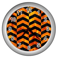 Chevron2 Black Marble & Fire Wall Clocks (silver)  by trendistuff