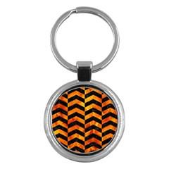 Chevron2 Black Marble & Fire Key Chains (round)  by trendistuff