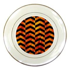 Chevron2 Black Marble & Fire Porcelain Plates by trendistuff