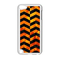 Chevron2 Black Marble & Fire Apple Ipod Touch 5 Case (white)