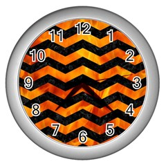 Chevron3 Black Marble & Fire Wall Clocks (silver)  by trendistuff