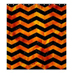 Chevron3 Black Marble & Fire Shower Curtain 66  X 72  (large)  by trendistuff