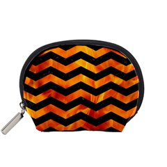 Chevron3 Black Marble & Fire Accessory Pouches (small)  by trendistuff