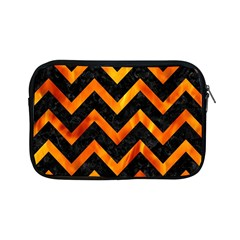 Chevron9 Black Marble & Fire Apple Ipad Mini Zipper Cases by trendistuff