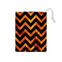 Chevron9 Black Marble & Fire Drawstring Pouches (medium)  by trendistuff
