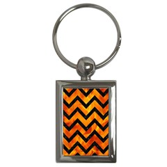 Chevron9 Black Marble & Fire (r) Key Chains (rectangle)  by trendistuff