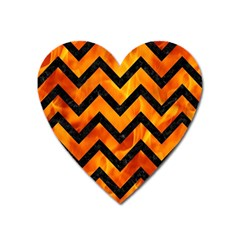 Chevron9 Black Marble & Fire (r) Heart Magnet by trendistuff